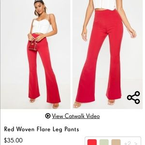 NWT PLT Red Woven Flare Pants